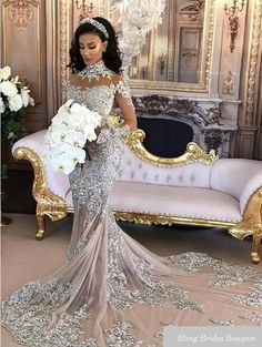 0632c08c72 Sexy Sheer Bling Lace High Neck Illusion Long Sleeve Mermaid Bridal Gowns.  Bling Wedding DressesLace ...