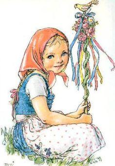 Untitled, by Marie Kvěchová-Fischerová Illustrators, Kids Portraits, Illustration, Artist, Happy Art, Nostalgic Art, Painting Crafts, Vintage Pictures, Vintage Drawing