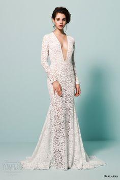 daalarna bridal 2015 pearl long sleeve v neck crochet lace wedding dress mermaid silhouette front view