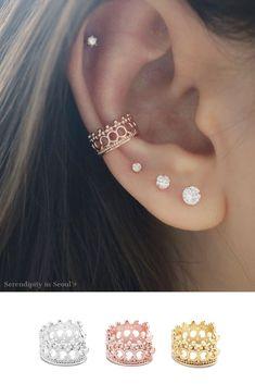 Piercing conch stud ear cuffs 65 new ideas - Piercing conch stud ear cuffs 65 new ideas You are in the right place about Piercing all'orecchio - Cuff Earrings, Rose Gold Earrings, Crystal Earrings, Cute Cartilage Earrings, Crown Earrings, Fancy Earrings, Helix Earrings, Circle Earrings, Pearl Beads