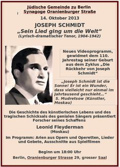 Schmidt poster Joseph Schmidt, Berlin, Videos, Birth, Anniversary, History, Blog, Movie Posters, Communities Unit