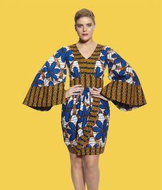 KIMONO DRAPE DRESS ~African fashion, Ankara, kitenge, African women dresses, African prints, African men's fashion, Nigerian style, Ghanaian fashion ~DKK
