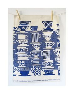 china blue tea towel by skinny la minx. Blue And White China, Blue China, Love Blue, Le Grand Bleu, White Tea Towels, Shades Of Blue, Tea Party, Screen Printing, Pattern Design