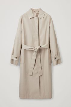 Front image of Cos organic-cotton trench coat in beige Clothes Horse, Organic Cotton, Capsule Wardrobe 2018, Sustainable Fabrics, Cos, Light Beige, Minimal Chic, Blue Denim, Coats For Women