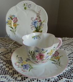 4:00 Tea...Shelley...Dainty Shaped Wildflowers Trio with pink trim and handle