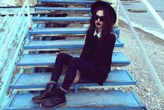 Thrift Store Sweater, Thrift Store White Shirt, Thrift Store Hat, Ray Ban Sunglasses, Dr. Martens Boots