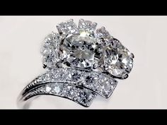 Platinum Diamond Cluster Ring | Vintage Jewellery | AC Silver