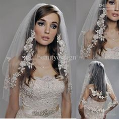 Bridal Veils Vintage White Ivory Short Tulle Wedding Bridal Veil Elbow Length Two Layer Beaded