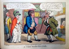 By Jane Austen's day, Bath had lost its cache for the rich and become a resort for the sick and infirm. The city was filled with apothecaries and doctors. ''Thomas Rowlandson (1756-1827), after a design by George Moutard Woodward (ca. 1760-1809), A Visit to the Doctor, no date. Etching. Graphic arts, GC112 Thomas Rowlandson Collection. Gift of Dickson Q. Brown, class of 1895. ''