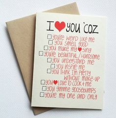 I love you card with funny list - romantic valentines day card with list of reasons - anniversary card for him for her. Hand make for Valentines Day? Anniversary Cards For Him, Anniversary Gifts, Homemade Anniversary Cards, 6 Month Anniversary, Diy Love, Love You, Be My Valentine, Valentine Day Gifts, Valentine Cards