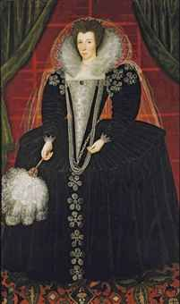 English School, circa 1595-1605   Portrait of a lady, identified as Elizabeth Howard, daughter of Charles, 1st Earl of Nottingham, but more probably one of the 1st Earl of Nottingham's daughters, full-length, in a black velvet dress embellished with table cut diamonds, with a brocaded cloth of silver stomacher, and silk veiling