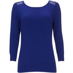 Wallis Petite Blue Zip Stud Jumper ($39) ❤ liked on Polyvore featuring tops, sweaters, blue, petite, zip sweater, studded jumper, long sleeve tops, studded sweater and zipper sweater