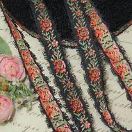 1y VTG FRENCH BROWN FEATHER PICOT ROSE FLOWER JACQUARD RIBBON TRIM BROCADE ANTIQ