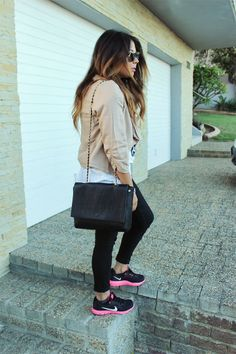 lucky loves, laiqah ally, nike sneakers ootd, nike fashion blogger, nike outfit fashion, new york chic, ombre curls hair, pink waterfall blazer, bl...,