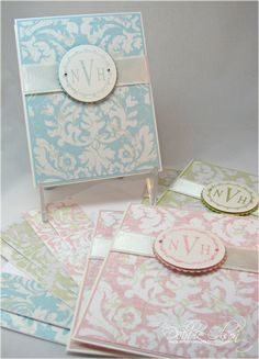 Monogrammed card set - would work with Cricut French Manor