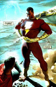 O Capitão Marvel de Mark Waid e Alex Ross na história Reino do Amanhã. Reprodução.