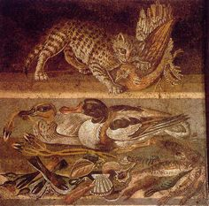 Creeping Cat   mosaic from the House of the Faun, Pompeii, 1st century AD ----- Museo Archeologico Nazionale di Napoli
