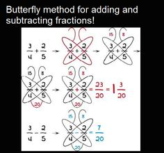 7 Math Hacks That Will Change Your Lives! Butterfly method for adding and subtracting fractionsButterfly method for fractions - keeping for later this year to help Hobbit.Butterfly method for adding or subtracting fractions. This may belong on a cook Math For Kids, Fun Math, Math Games, Math Activities, Adding And Subtracting Fractions, Math Fractions, How To Add Fractions, Simple Math, Basic Math