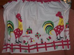 Vintage rooster Apron barn yard polka dots Fence cottage country mint
