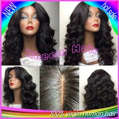 Best Quality Virgin Brazilian Human Hair Lace Front Wig&Glueless Full Lace Wigs Loose Wave Middle Part Free Ship For Black Women