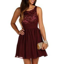 Burgundy Swirl Sequin Dress
