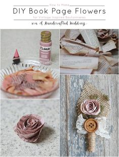 How to make Book Page Flowers for Boutonnieres. Create flowers for using dyed book pages for a vintage inspired wedding. MountainModernLife.com