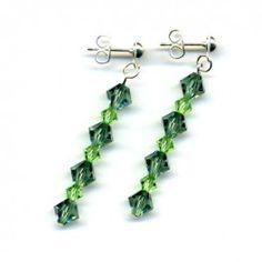 Stud Earrings with Swarovski Crystals - Olivine and Peridot