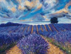Van Gogh Lavender Fields Landscape Cross Stitch Pattern - PDF Instant Download…