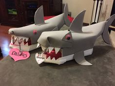 Shark valentines box.  Craft foam and a small gift box.