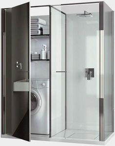 Compact Laundry / Shower Cabin Combo for Small Spaces by Vismaravetro - Small Bathroom Ideas Photo Gallery Tiny House Bathroom, Laundry In Bathroom, Bathroom Small, Bathroom Ideas, Bath Ideas, Bathroom Storage, Bathroom Renovations, Modern Bathroom Design, Bathroom Interior Design