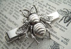 Men's Tie Clip Silver Bee Tie Clip Vintage Inspired Gothic Victorian Steampunk Style Men's Gifts
