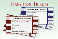 Transition Tickets help students write well-developed paragraphs using transitions and transition phrases to summarize chapters, preview units, evaluate information and assess comprehension. (priced item)