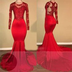 Scoop Neck Lace Mermaid African Prom dresses red Long Formal Evening Dresses Scoop Neck Lace M Mermaid Prom Dresses Lace, Prom Girl Dresses, Prom Dresses Long With Sleeves, Lace Mermaid, Dress Prom, Prom Gowns, Long Dresses, Chiffon Dresses, Bridesmaid Dresses