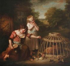 'Rural Employment': The Two Daughters of the Artist, Anne (1781–1857), and Maria (1782–1861), Feeding Chickens in a Landscape, by John Russell, 1786