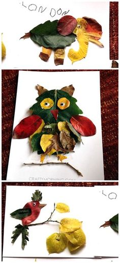 Leaf Animal Fall Crafts for Kids to Make! (Find foxes, owls, birds, and elephant… Leaf Animal Fall Crafts for Kids … Kids Crafts, Animal Crafts For Kids, Fall Crafts For Kids, Art For Kids, Crafts To Make, Art Crafts, Autumn Art Ideas For Kids, Kids Diy, Fall Leaves Crafts