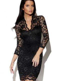 ustrendy, Black Lace Dress with V-Neck,  Dress, lace dress  long sleeve, Chic