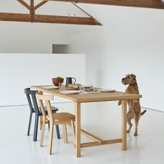 Covid puppy + a beautifully simple dining situation from Another Country. An inspiring start to another week. Brand: Another Country Country Coffee Table, Country Bench, Country Dining Tables, Country Shelves, Country Bar, Country Kitchen, Country Blankets, Country Bedding, Kids Stool