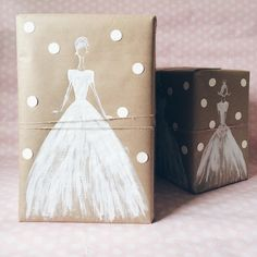 Kraft paper and white ink gift wrapping for a wedding present  #diy #gifs #wedding