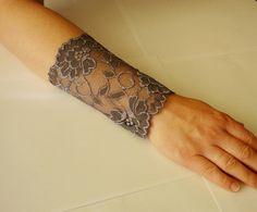 Lace Grey bracelet Lace Wrist Cuff Grey Strech by IskaCreations Boho Style, My Style, Wedding Bracelet, Boho Fashion, Gray Color, Trending Outfits, Tattoos, Grey, Unique Jewelry