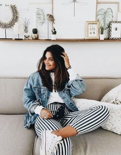 jesuisromyx Black and white striped pants, denim jacket, white top, white sneakers Street style, street fashion, best street style, OOTD, OOTD Inspo, street style stalking, outfit ideas, what to wear now, Fashion Bloggers, Style, Seasonal Style, Outfit Inspiration, Trends, Looks, Outfits.