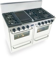 "48"" Pro-Style Natural Gas Range with 6 Sealed Ultra High-Low Burners 2.92 cu. ft. Convection Ovens Manual Clean Broiler Ovens and Double Sided Grill/Griddle General Electric,http://www.amazon.com/dp/B001F8143I/ref=cm_sw_r_pi_dp_.x7wtb1AFZDQS0E5"