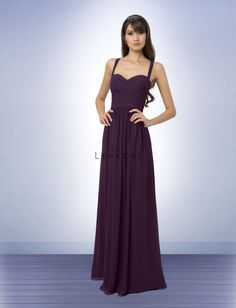 Chiffon gown with a soft sweetheart neckline. Ruched criss cross bodice with straps that form a V in the back.