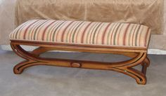 Banqueta Cruz con óvalo central estilo Biedermeier. Vanity Bench, Furniture, Home Decor, Classic Furniture, Custom Furniture, Banquettes, Couches, Projects, Style