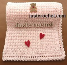 Free baby crochet pattern for baby blanket http://www.justcrochet.com/baby-blanket-usa.html #justcrochet