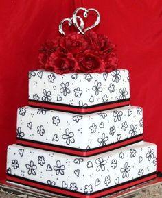 Black & Red Wedding Cake