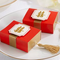 Chinese Symbol Favor Boxes, Double Happiness Boxes, Double Happiness Favors