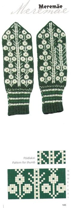 "Photo from album ""Варежки ))) схемы"" on Yandex. Tapestry Crochet Patterns, Fair Isle Knitting Patterns, Knitting Charts, Knitting Stitches, Knitted Mittens Pattern, Crochet Mittens, Filet Crochet, Knitted Hats, Mitten Gloves"