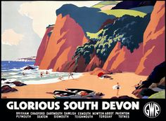 TNWC Real Brides: Vicky's been creating her vintage railway poster inspired invitations for her Devon wedding Posters Uk, Train Posters, Railway Posters, British Travel, British Seaside, Vintage Travel Posters, Vintage Postcards, Devon Beach, Devon Holidays