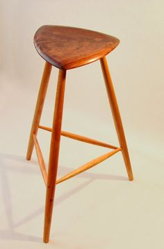 Sculpted Walnut 3 Legged Stool Amazing Design