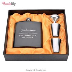 """Key Features:Category:Drinkware&Barware & Bottle FavorsPersonalization:Personalized Themes:Classic ThemeSeasons:Spring, Summer, Fall, WinterMaterials:Stainless SteelOccasion:Wedding, AnniversaryBrand Name: BridelilyWidth 3.34"""" (8.5 cm) Thickness 0.78"""" (2 cm)Height 4.13"""" (10.5 cm)Packing: 0.29 kgCapacity:180ml(6-oz)Pacing:Gift BoxAny questions about the item, feel free to Contact Us Burning Incense, Incense Cones, Personalized Wedding Gifts, Glazed Ceramic, Wedding Accessories, Valentine Day Gifts, Great Gifts, This Or That Questions, Stainless Steel"""